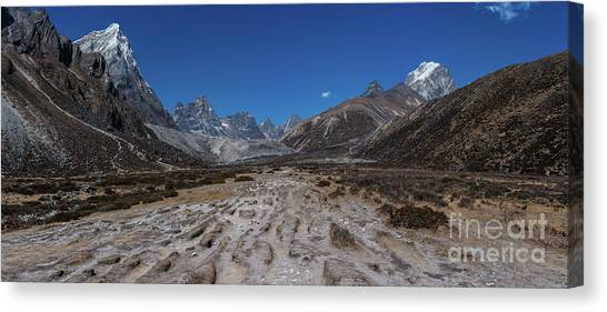 K2 Canvas Print - Tabuche And Awi Peak With The Trail To Pheriche Down The Middle by Mike Reid