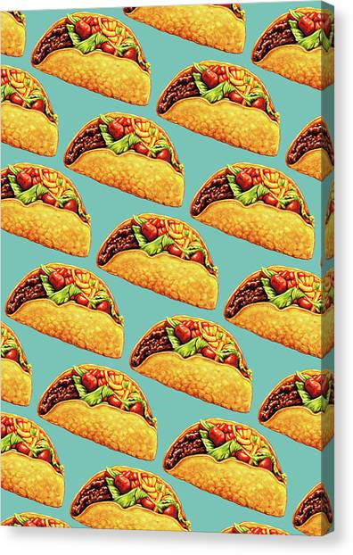 Junk Canvas Print - Taco Pattern by Kelly Gilleran