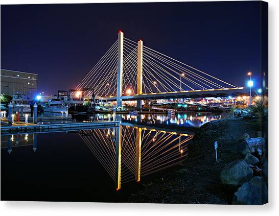 Tacoma Hwy 509 Bridge Up In Lights 2 Canvas Print