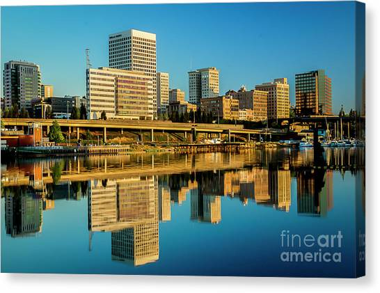 Tacoma's Waterfront,washington Canvas Print