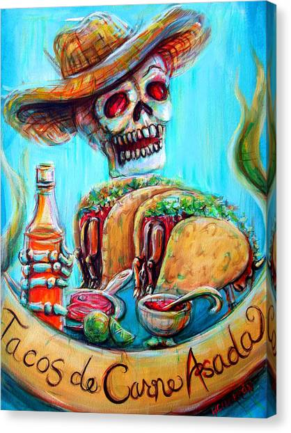 Salsa Canvas Print - Tacos De Carne Asada by Heather Calderon