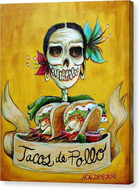 Tacos De Pollo Canvas Print by Heather Calderon