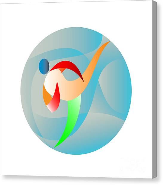 Taekwondo Canvas Print - Taekwondo Fighter Kicking Circle Retro by Aloysius Patrimonio