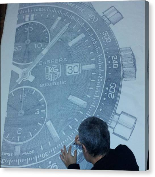 Watch Canvas Print - Tag Heuer Carrera. Ink On Canvas by Pablo Franchi