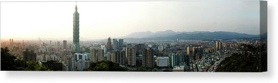 Taipei In Panorama Canvas Print