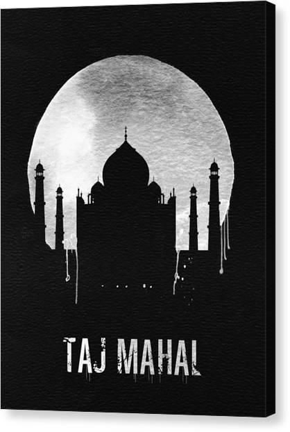 India Canvas Print - Taj Mahal Landmark Black by Naxart Studio