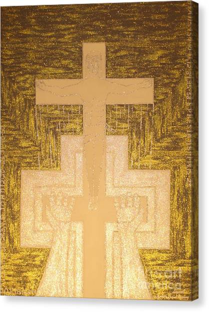 Take It To The Cross Silver Gold Canvas Print by Daniel Henning