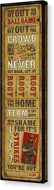 Babe Ruth Canvas Print - Take Me Out The The Ballgame by Jeff Steed