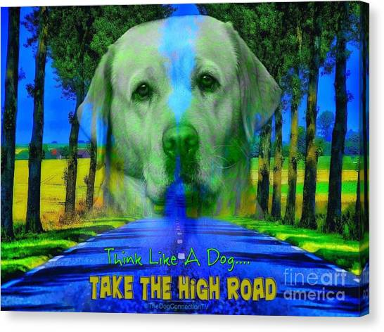Canvas Print featuring the digital art Take The High Road by Kathy Tarochione