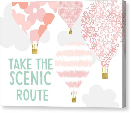 Hot Air Balloons Canvas Print - Take The Scenic Route Pink- Art By Linda Woods by Linda Woods