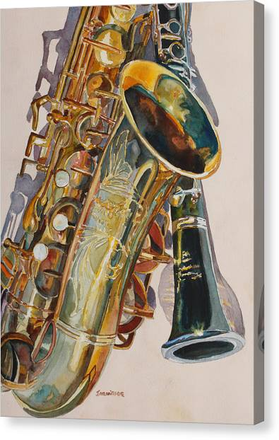 Saxophone Canvas Print - Taking A Shine To Each Other by Jenny Armitage