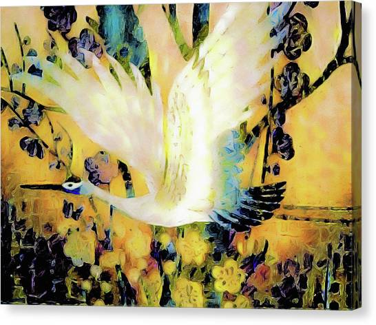 Canvas Print featuring the mixed media Taking Wing Above The Garden - Kimono Series by Susan Maxwell Schmidt