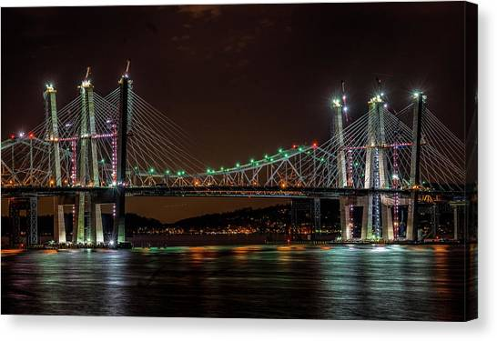 Tale Of 2 Bridges At Night Canvas Print