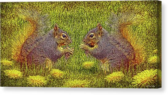 Tale Of Two Squirrels Canvas Print