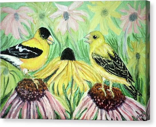 Talking Finches Canvas Print by Ann Ingham