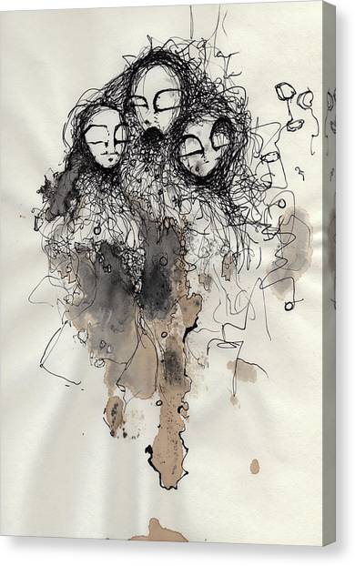 Pen And Ink Drawing Canvas Print - Talking To Yourself Again  by Mark M  Mellon