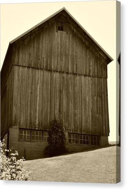 Tall Barn On Hillside Canvas Print