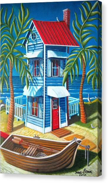 Tall Blue House Canvas Print