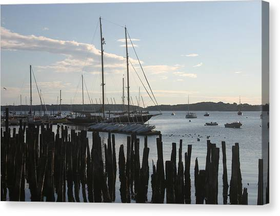 Tall Ship At Dock Canvas Print by Dennis Curry