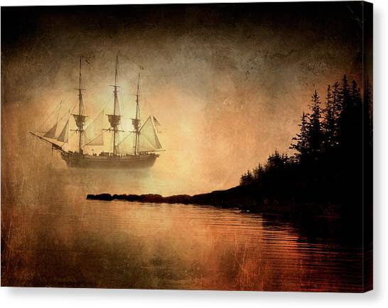 Tall Ship In The Fog Canvas Print