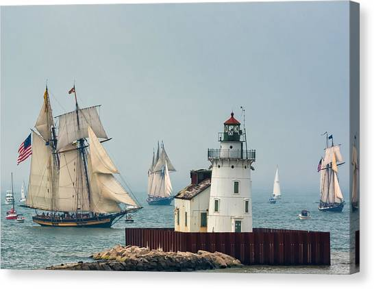 Tall Ships At Cleveland Lighthouse Canvas Print