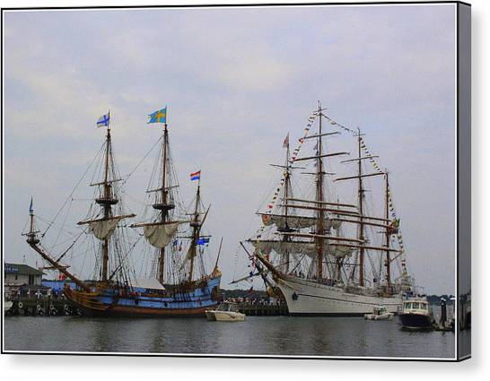 Historic Tall Ships Hermione And Sagres Canvas Print