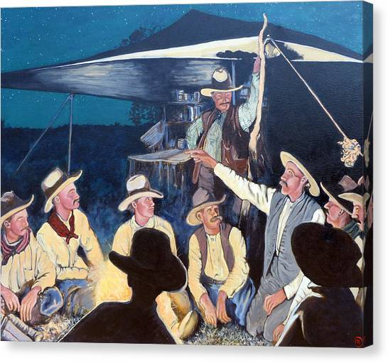 Bull Riding Canvas Print - Tall Tale by Tom Roderick