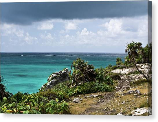 Talum Ruins Mexico Ocean View Canvas Print