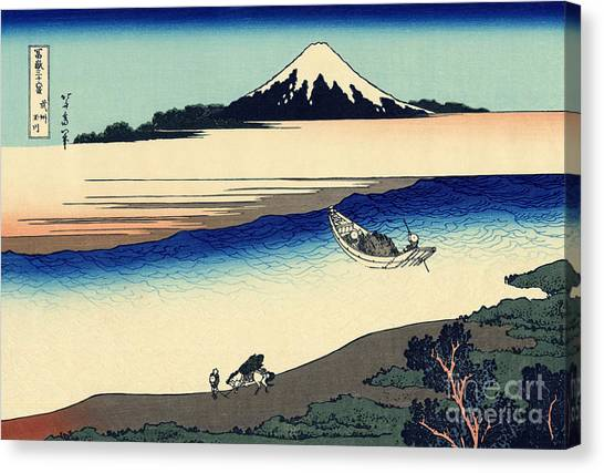 Mount Fuji Canvas Print - Tama River In The Musashi Province by Hokusai