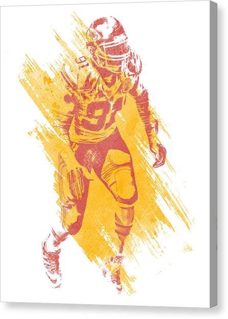 Kansas City Chiefs Canvas Print - Tamba Hali Kansas City Chiefs Water Color Art 1 by Joe Hamilton