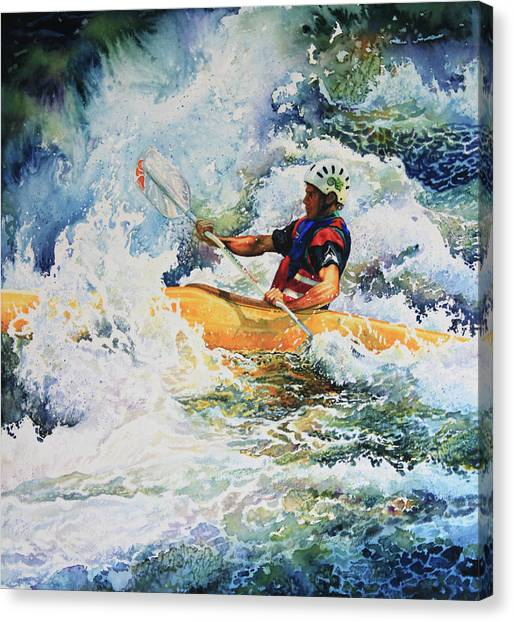 Water Sports Art Canvas Print - Taming Of The Chute by Hanne Lore Koehler
