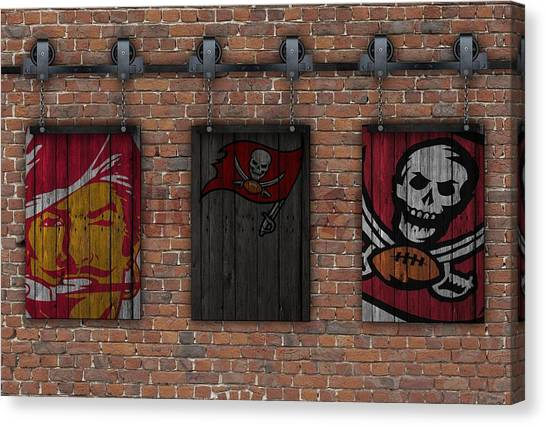 Tampa Bay Buccaneers Canvas Print - Tampa Bay Buccaneers Brick Wall by Joe Hamilton