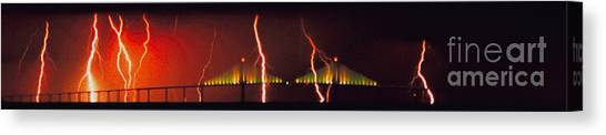 Tampa Bay Lightning Canvas Print - Tampa Bay Lightning Over The Skyway Bridge by Rolf Bertram