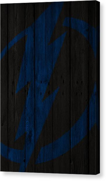 Tampa Bay Lightning Canvas Print - Tampa Bay Lightning Wood Fence by Joe Hamilton