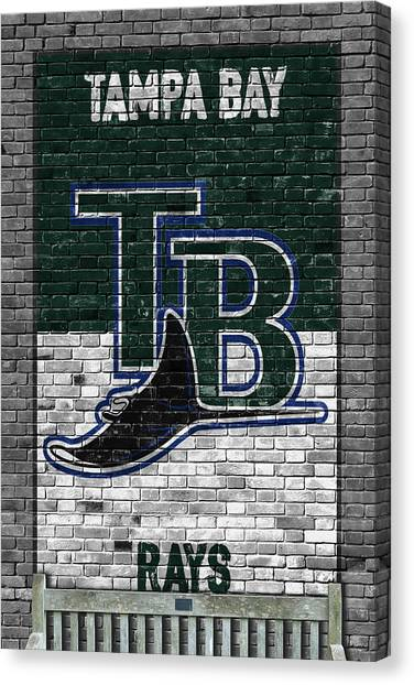 Tampa Bay Rays Canvas Print - Tampa Bay Rays Brick Wall by Joe Hamilton