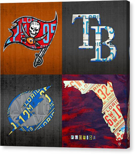 Tampa Bay Rays Canvas Print - Tampa Bay Sports Fan Recycled Vintage Florida License Plate Art Bucs Rays Lightning Plus State Map by Design Turnpike