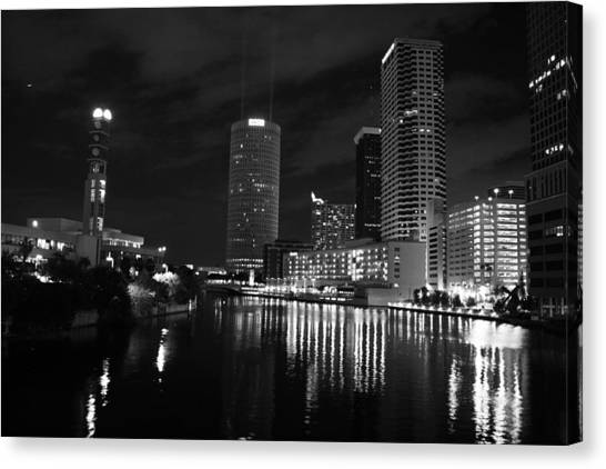 Tampa Skyline West Night Black And White Canvas Print by Larry Underwood