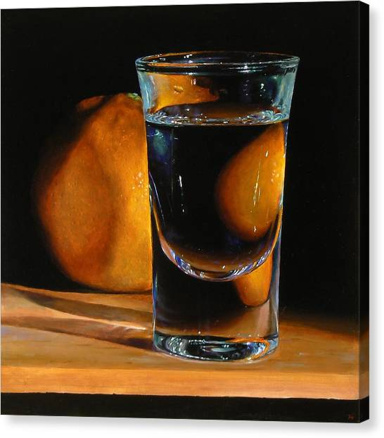 Tangerine And Shotglass Canvas Print by Jeffrey Hayes