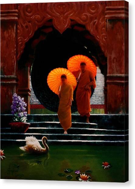 Tangerine Parasols Canvas Print by Stephen Lucas