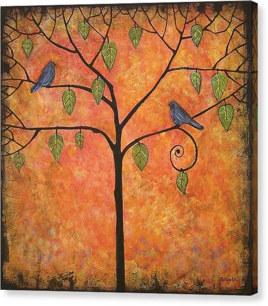 Bluebirds Canvas Print - Tangerine Sky by Blenda Studio