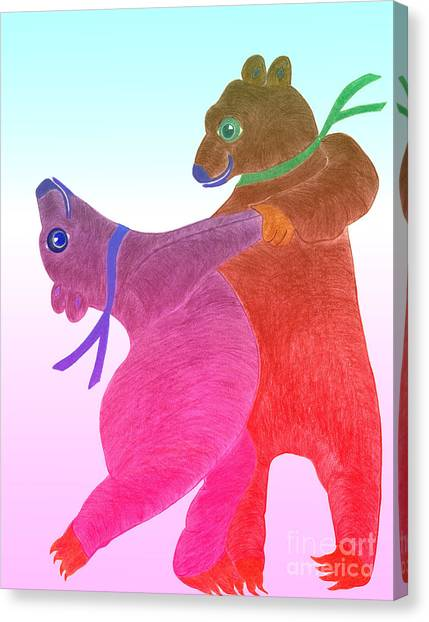 Tango Bears Canvas Print by Tess M J Iroldi