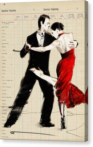Tango Canvas Print - Tango In Black And Red by H James Hoff