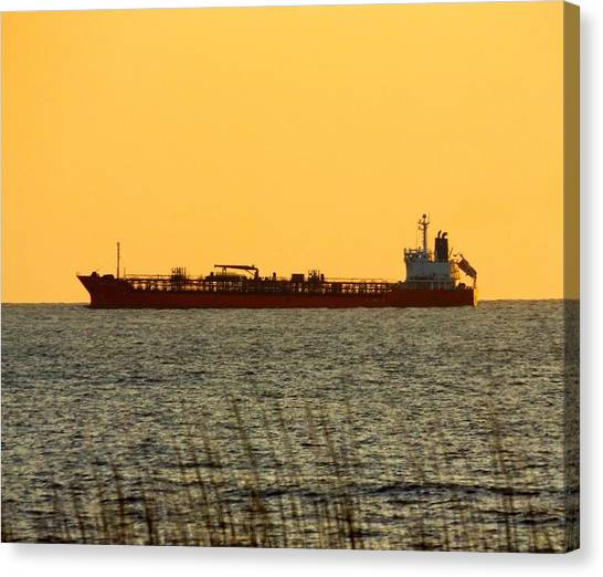 Tanker At Sunrise Canvas Print