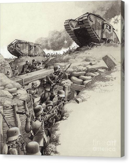 Grenades Canvas Print - Tanks Roll Over German Trenches During The Great War  by Pat Nicolle