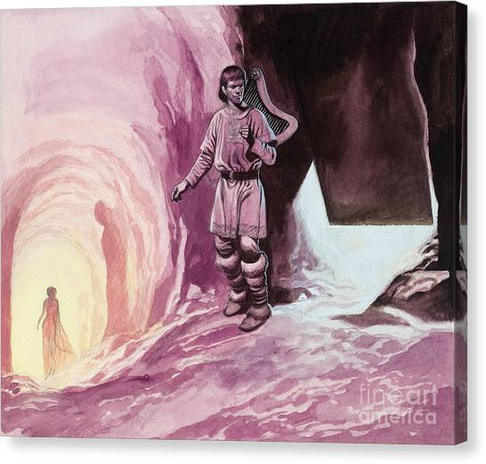 Fantasy Cave Canvas Print - Tannhauser Following Venus Inside The Cavern by Ron Embleton
