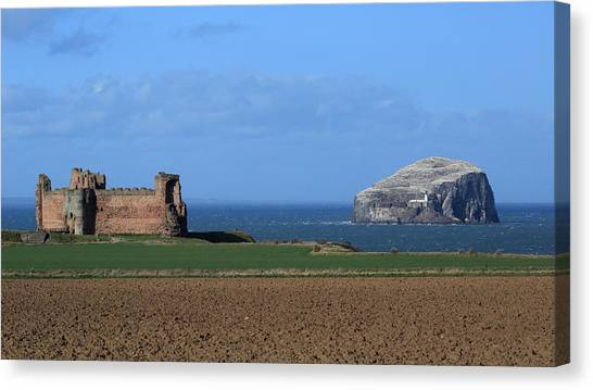 Tantallon Castle And The Bass Rock Canvas Print by Maria Gaellman