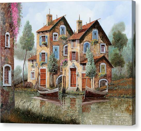 Red Door Canvas Print - Tante Finestre by Guido Borelli