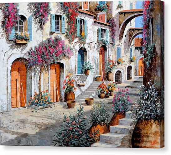 Street Scenes Canvas Print - Tanti Fiori Per Strada by Guido Borelli