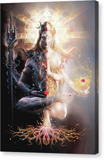 Flames Canvas Print - Tantric Marriage by George Atherton