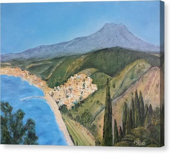 Mount Etna Canvas Print - Taormina, Sicily by Judy Jones